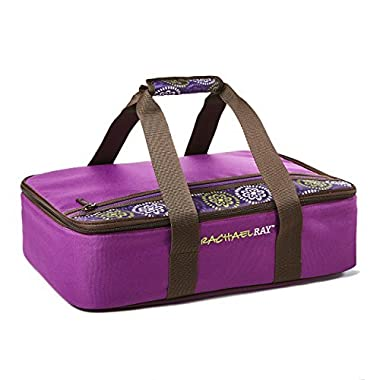 Rachael Ray Lasagna Lugger, Insulated Casserole Carrier for Potluck Parties, Picnics, Tailgates - Fits 9 x13  Baking Dish, Purple Floral Medallion