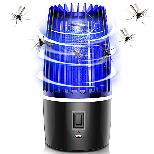 MME UV Mosquito Killer Lamp USB or Battery Powered Bug Zapper Trapper Applicable to Outdoor and Indoor Use (Powered by USB)