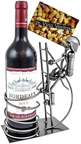 BRUBAKER wijnflessenhouder flessenrek brandweerman op ladder decoratief object metaal met wenskaart voor wensgeschenk