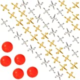 Biubee 5 Sets Retro Metal Jacks and Ball Game- 50 Pcs Gold and Silver Toned Jacks with 5 Red Rubber...