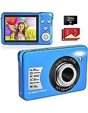 LINNSE Fotocamera digitale, fotocamera compatta da 30 MP, 2,7 pollici, con zoom digitale 8x, con scheda SD da 32 GB e 2 batterie (blu)