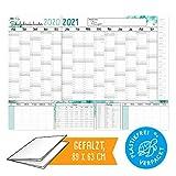 XXL Schülerkalender Schuljahreskalener 2020 2021 | PLASTIKFREI I Kalender in Postergröße | Terminplaner groß mit Stundenplan, Ferienterminen und Feiertagen