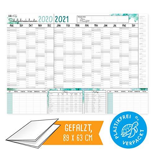 XXL Schülerkalender Schuljahreskalener 2020 2021   PLASTIKFREI I Kalender in Postergröße   Terminplaner groß mit Stundenplan, Ferienterminen und Feiertagen