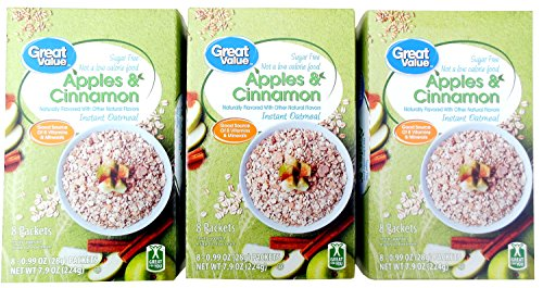 Sugar Free Oatmeal (Instant) - Diabetic Friendly, Apples & Cinnamon (Pack of 3)