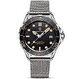 Pagani Design Original Seamaster Reloj para Hombre, Pulsera de Acero Inoxidable con Corona de Rosca...