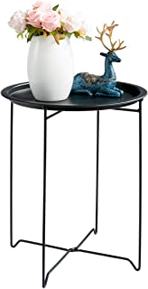 HollyHOME Tray Metal End Table, Sofa Table Small Round Side Tables, Anti-Rust and Waterproof Outdoor & Indoor Snack Table, Accent Coffee Table,(H) 19.3