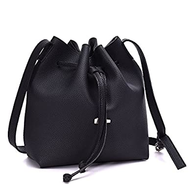 Drawstring Bucket Bags 2 Pieces Set, Artmis Women Small Cross-body Purses PU Leather