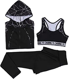 Yoga Clothes 3-Pieces Long Sleeves Sportswear Coat Pants Bra Suits Casual Outdoor Yoga Clothing Suit Activewear Tracksuits...