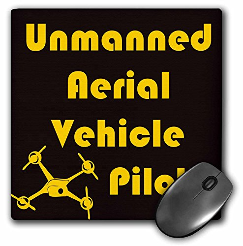 3dRose mp 179970 1 8 x 8 Black and Yellow Drone for Uav Pilot Mouse Pad