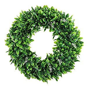 Silk Flower Arrangements Cekene Artificial Wreath for Home Front Door 16'' Boxwood Round Wreath for Wall Window Green Leaves Wreath for Wedding Hanging Decoration
