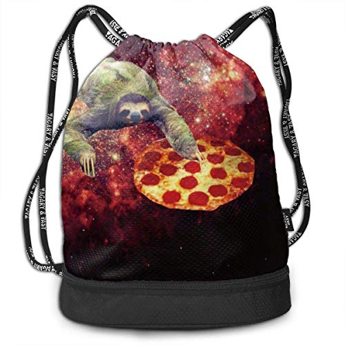 zhangyuB Girls & Boys Kordelzugbeutel Theft Proof Lightweight Beam Backpack, Traveling Shoulder Bags - Sloth Pizza Star Galaxy Waterproof Backpack Soccer Basketball Bag