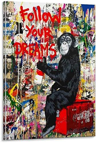 Banksy Graffiti Toile Art Décor Suivez Vos Rêves Tableau...
