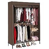 Jaketen Portable Clothes Closet Non-Woven Fabric Wardrobe with Double Rod Shelves Freestanding Storage Organizer Wardrobe (Coffee.)