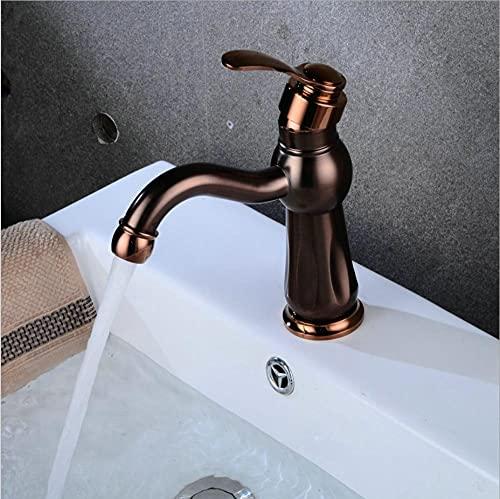 qingchunjiejie Baño caliente y frío de un solo orificio grifo de lavabo antiguo de un solo mando Grifo de lavabo retro de color cobre de estilo europeo