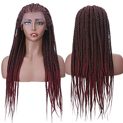 Braided Lace Front Wigs for Black Women Lightweight Cornrow Braided Twist Braids Synthetic Braiding Hair Braid Wig With Baby Hair 30'/30inch Black Mix Burgundy Wine Red