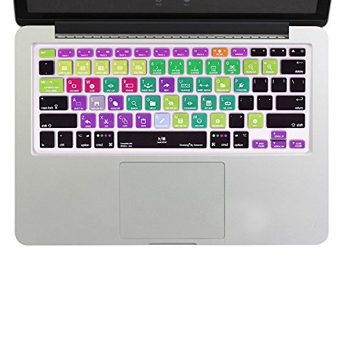 dogxiong Shortcut Muster Silikon Tastatur Cover Skin Schwarz Stil Muster für iMac Tastatur ohne Ziffernblock, MacBook Air 33cm, MacBook Pro 13, 15US/EU Tastatur-Layout Ableton Live