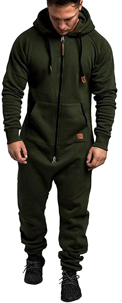 KEEYO Mens Hooded Jumpsuit Full Zip Onesie Rompers One Piece Pajamas Overalls Lightweight Tracksuit with Pockets Plus Size