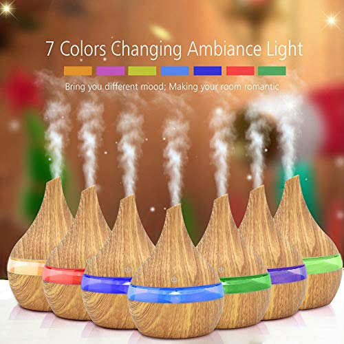 Uamaze Wooden Air Aroma Essential Oil Diffuser Humidifier with 7 Colors LED Night Light-110X110X145mm for Home/Office/Bedroom