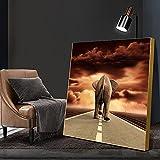 Póster de animales e impresiones con elefante en el camino Pintura en lienzo Arte de la pared para la decoración del hogar de la sala de estar 55x55cm (22'x22') Sin marco