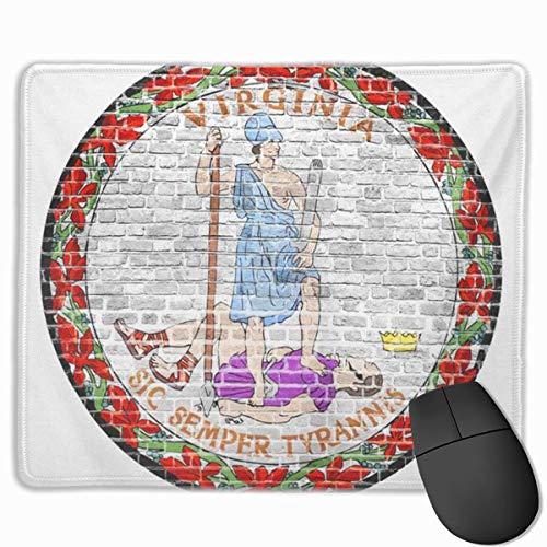 Nettes Gaming-Mauspad, Schreibtisch-Mauspad, kleines Mauspad für Laptop-Computer, Maus-Matte-Blau-abstrakte Virginia-Siegel-uns Flagge auf altem Vintage-Backstein-rotem Alter-Amerika-Block