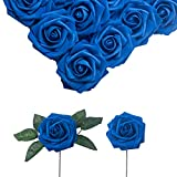 Mellamo Artificial Flowers Roses Royal Blue 30pcs w/Stem Fake Foam Rose Heads Real Looking Flowers for DIY Wedding Bouquets Centerpieces Arrangements Baby Shower Party Home Tables Decorations
