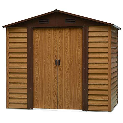 Outsunny Geräteschuppen Geräteschrank Schuppen Gerätehaus Gartenhaus 4 Fenster Holzmaserungsimitat+Kaffee L152 x B235,7 x H208,7 cm