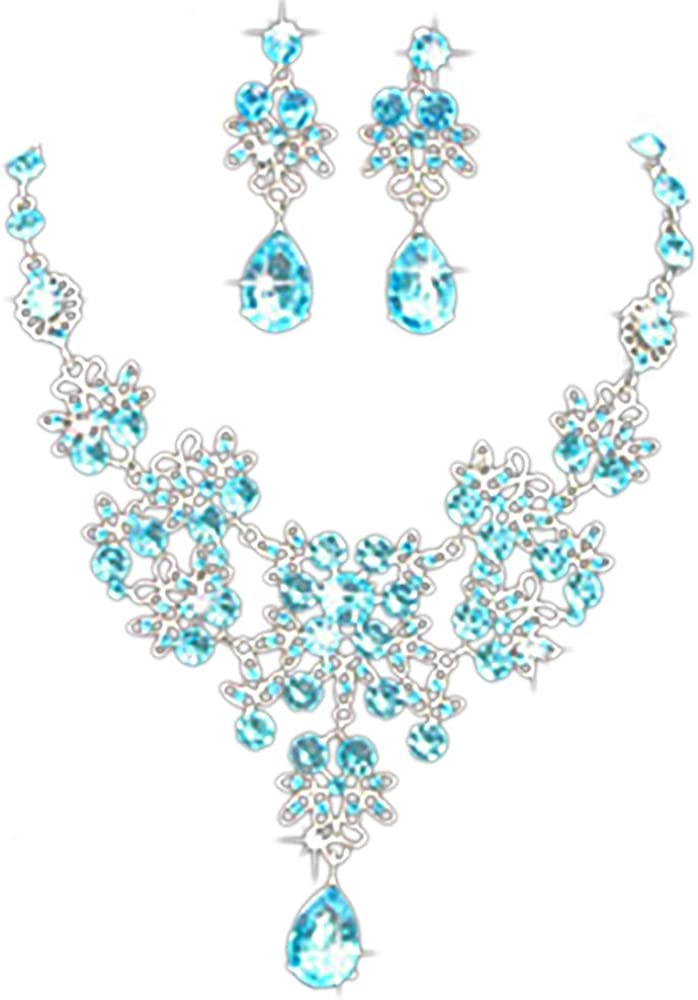Gbell Clearance! Charm Wedding Bridal Crystal Necklace Earrings Jewelry Set Fine Rhinestone Women's Prom Jewelry Statement (Sky Blue)