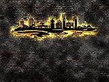 Skyline Insel Juist Flagge LED Wandbild aus Holz Stadt AK Karte Map Stadtplan Wandsticker Leuchtbild Neonreklame Neon sign