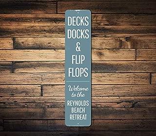 Decks Docks & Flip Flops Vertical Sign, Custom Beach Retreat Family Name Gift, Metal Ocean Beach House Decor,Metal Sign, 4