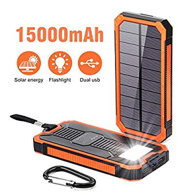 Portable Power Bank 15000mAh, Elzle Solar Charger, Solar Power Bank Battery Pack, High-Speed Charging Solar Phone Charger for iPhone, Samsung and More.