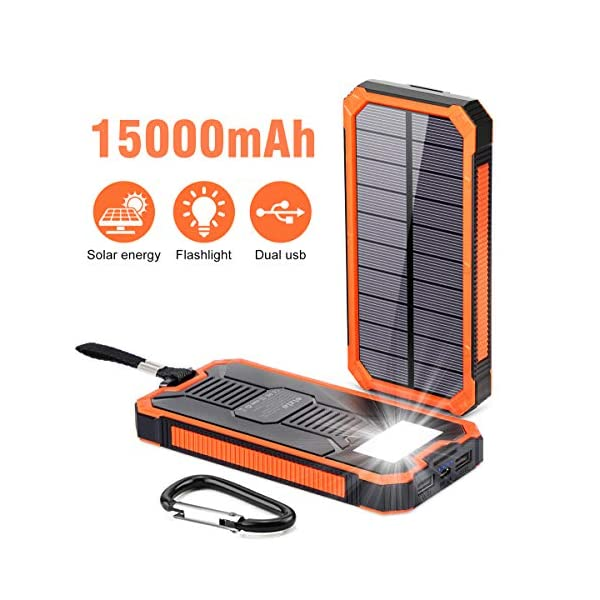 Solar Power Bank 15000mAh,Elzle Portable Power Bank,Solar Charger Solar Phone Charger,...