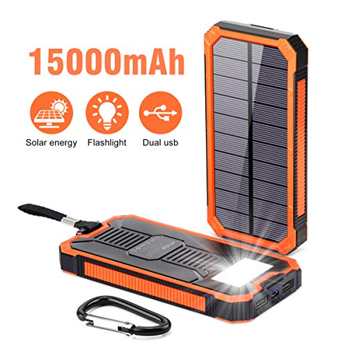 Solar Power Bank 15000mAh,Elzle Portable Power Bank,Solar Charger Solar Phone Charger, Fast Charger Dual USB External Battery Bank Pack with Compatible for Smartphones Tablet