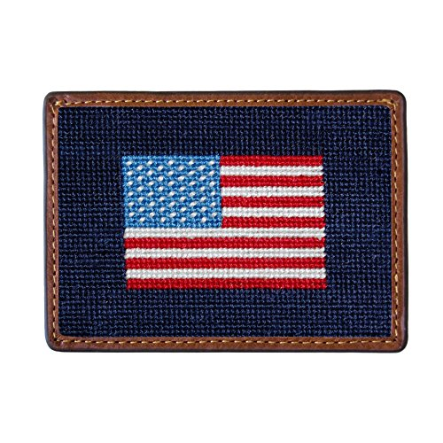 Smathers & Branson Men's Needlepoint Card Wallet American Flag/Dark Navy