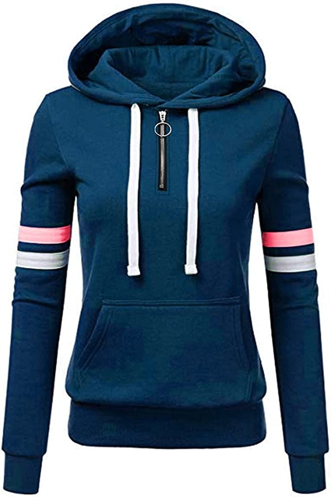 977 Hoodies Women Plus Size Casual Winter with Pockets Loose Fit Zipper Striped Sweatshirt Solid Warm Pullover
