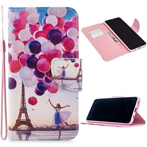 Miagon Full Body Coque Case pour Samsung Galaxy S9,Coloré Motif Pu Cuir Portefeuille Flip Etui Portable Silicone Interne Antichoc Housse de Protection,Ballon Tour