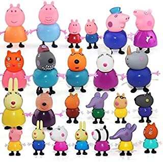 HAPPYTOYS Cartoon Peppa Pig Friends Toys soft head for Kids Gift,24 pieces