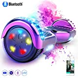 MARKBOARD Patinete Eléctrico 6.5' Hoverboard con Luces LED, Flash Ruedas, Cinco Estrellas con Bluetooth, Scooter Monopatín Auto Equilibrio Hoverboard