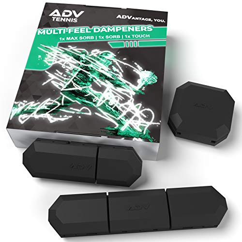 ADV Tennis Vibration Dampener - Set of 3 - Ultimate Shock Absorbers for Racket and Strings - Premium Quality, Durable, and 100% Reliable - Newest Technology (Black)