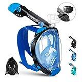 OUSPT Tauchmaske,Schnorchelmaske Vollmaske mit 180° Sichtfeld Vollgesichtsmaske mit Abnehmbarer Kamerahalterung und Ohrenstöpsel Anti-Fog Anti-Leck für Kinder Erwachsene (Blau, S/M)