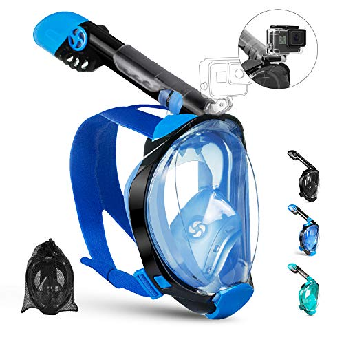 OUSPT Tauchmaske,Schnorchelmaske Vollmaske mit 180° Sichtfeld Vollgesichtsmaske mit Abnehmbarer Kamerahalterung und Ohrenstöpsel Anti-Fog Anti-Leck für Kinder Erwachsene (Blau, L/XL)
