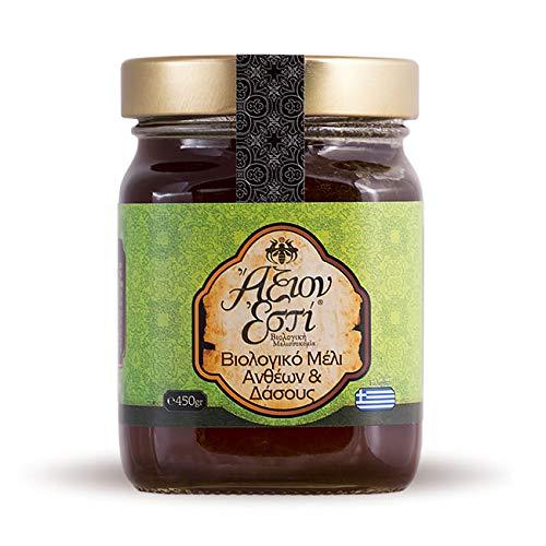 Miele grezzo bio proveniente dalla Grecia   Miele biologico di fiori selvatici e della foresta greca di Axion Esti (450 gr)