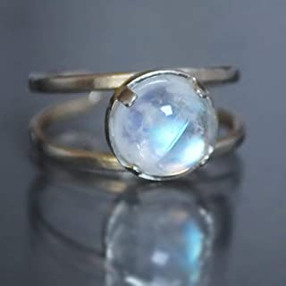 Natural Rainbow Moonstone Handmade Ring Adjustable (sizes 6-8) Sterling Silver 925
