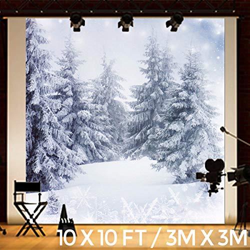 KING DO WAY Fondo de Fotografía de Navidad 3X3M, Fondo de Arbol de Nieve Blanca de Fotografía, Navideño Retrato de la Fotografía, Paisaje de Fondo de Vinilo