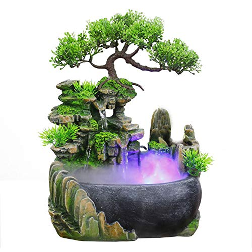 Indoor Relaxation Desktop Fountain Waterfall, Zen Meditation Indoor Waterfall Feature with Automatic Pump, Illuminated Waterfall for Home Office Bedroom Desk Décoration (Upgrade)