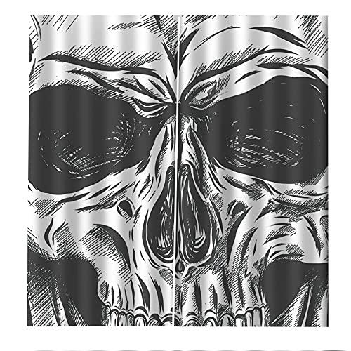 FACWAWF Impresión 3D Patrón De Halloween Patrón De Terror Suave Y Anti-UV Anti-UV Aislamiento Térmico Y Acústico Cortinas Opacas Altas para La Sala De Estar Y El Balcón del Dormitorio 2xW75xH166cm