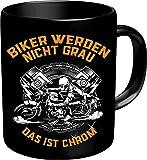 RAHMENLOS Kaffeebecher für ältere Motorradfahrer: Biker werden nicht grau, das ist Chrom! Im...