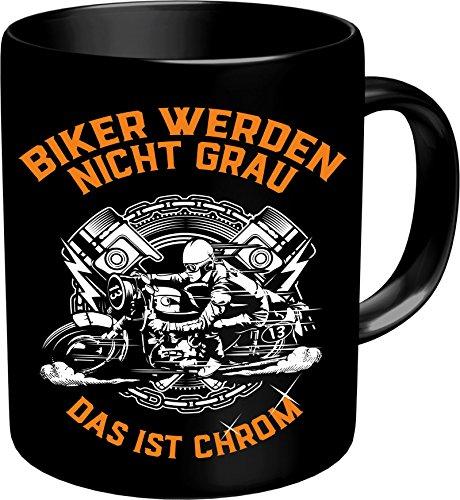 RAHMENLOS® Kaffeebecher für ältere Motorradfahrer: Biker werden nicht grau, das ist Chrom! Im Geschenkkarton 2639