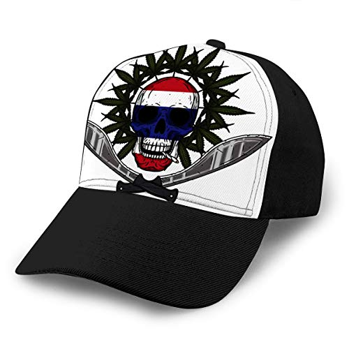 Baseball Cap Hats Adjustable Human Skull with Two Crossed Machetes Marijuana Leaf Thai Flag In Style Rastaman Skul