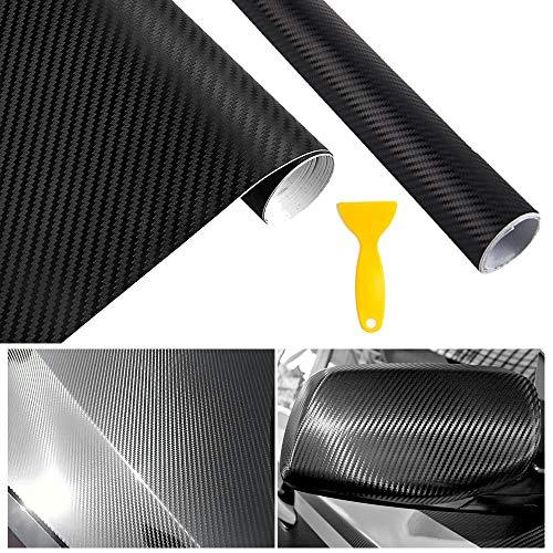 Homo Trends - 2 rollos de vinilo de fibra de carbono con rasqueta de plástico 1500 x 300 mm, autoadhesivas para coche, accesorios de interior y apariencia