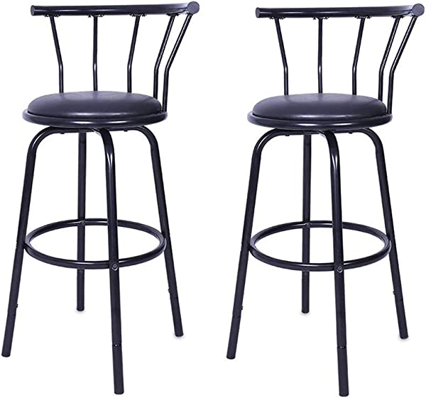Metal Bar Stool SIN MON Vintage Wrought Iron Rotating High Stool Black Bar Chair Swivel Counter Stool With Leather Seat And Crown Back Backrest Set Of 2 Ship From USA Black